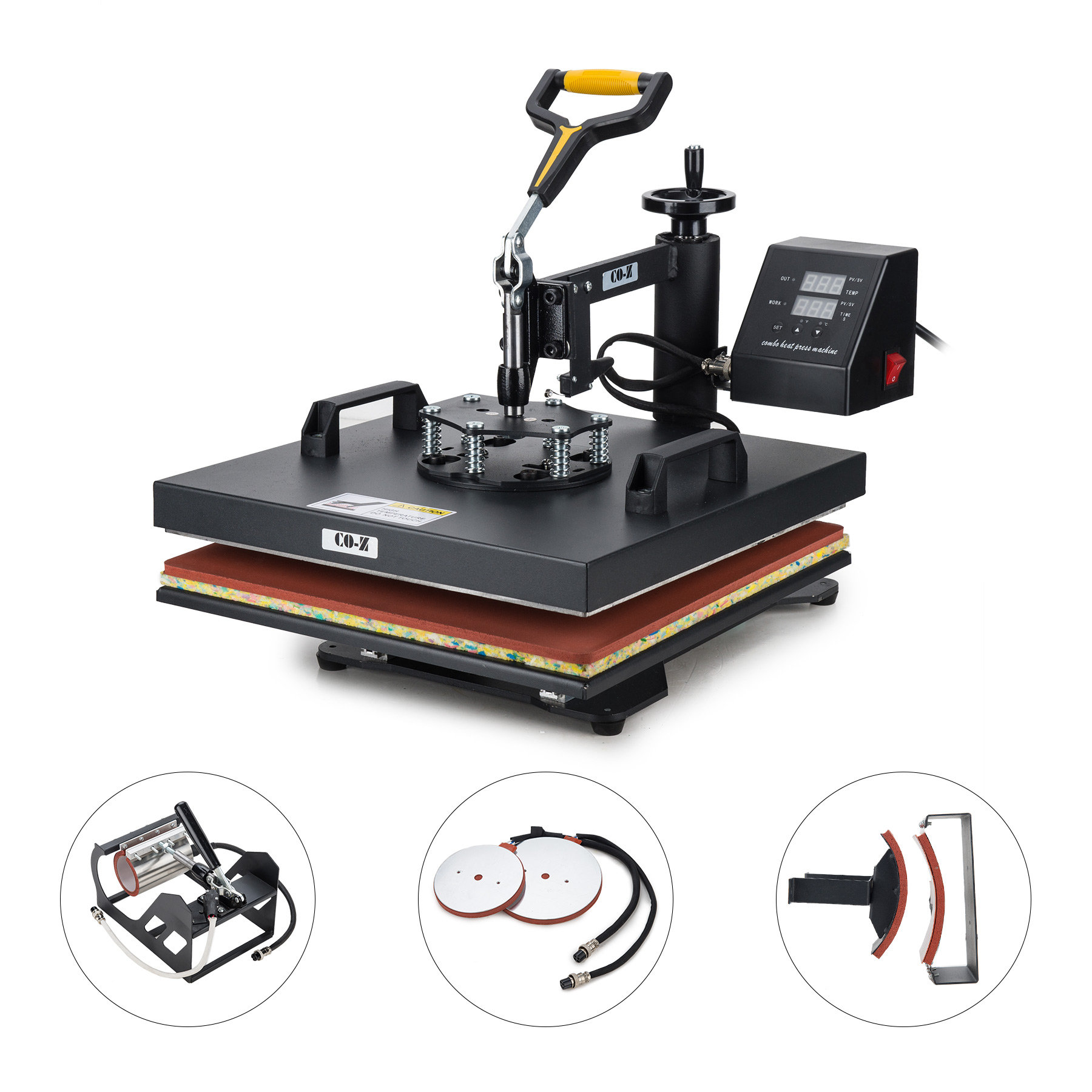 "5 in 1 15"" X 15"" T Shirt Heat Press Machine for Mug Hat Plate Cap Mouse Pad"
