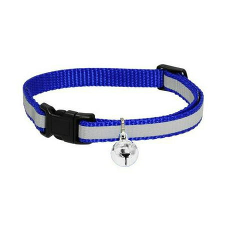 Wideskall Adjustable Nylon Safety Breakaway Cat Collar with Bell, Blue (Black Cat Items)