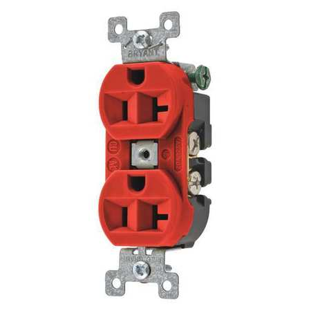 BRYANT Receptacle,Red,20A,125VAC,Duplex Outlet 5362BRED