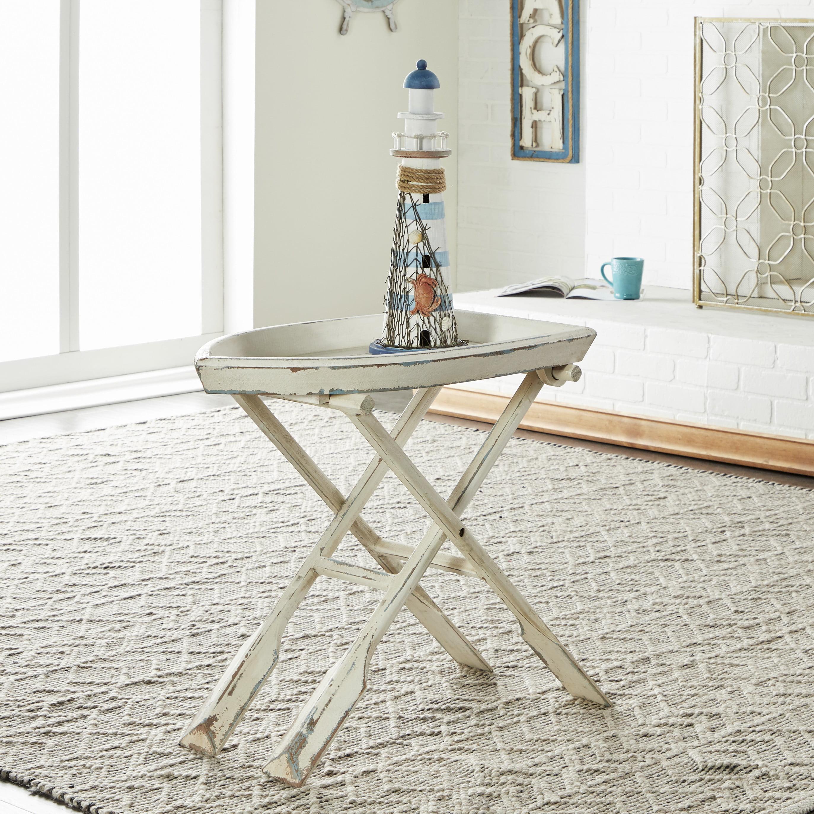 - Decmode - Coastal Decor Distressed White Wood Accent Table, White