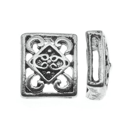 Lead-Free Pewter Beads, Patterned Sliders 13x14.5mm, 2 Pieces, Antiqued - Free Beaded Jewelry Patterns