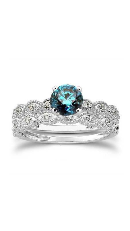 1 2ct Vintage Treated Blue & White Diamond Engagement Ring Set 14K White Gold by Pompeii3
