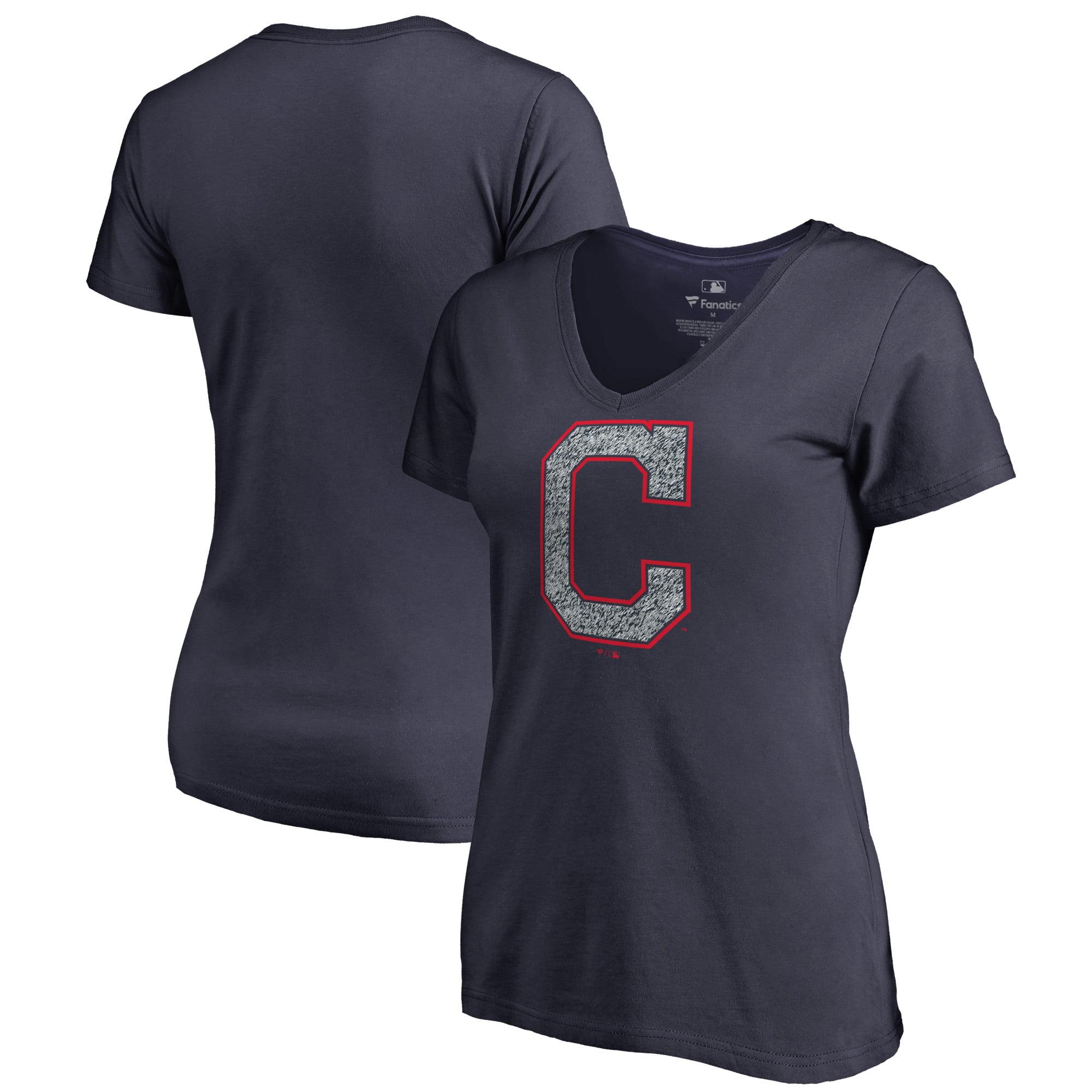 Cleveland Indians Fanatics Branded Women's Static Logo V-Neck T-Shirt - Navy