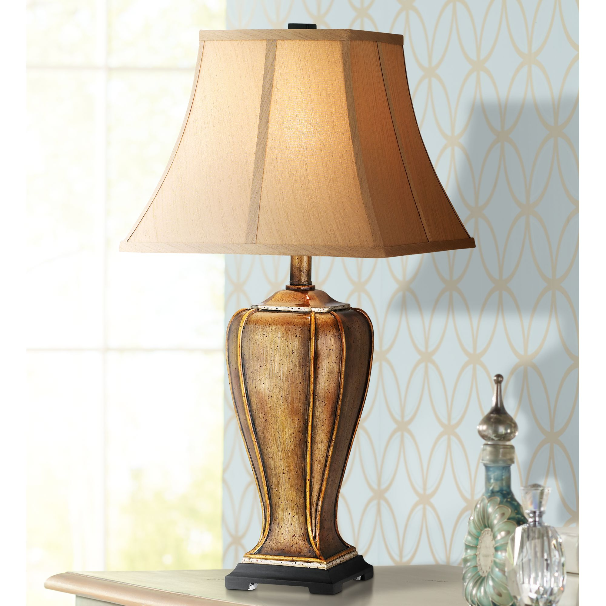 Regency Hill Traditional Table Lamp Hand Painted Copper Vase Faux Silk Square Bell Shade for Living Room Family Bedroom Nightstand