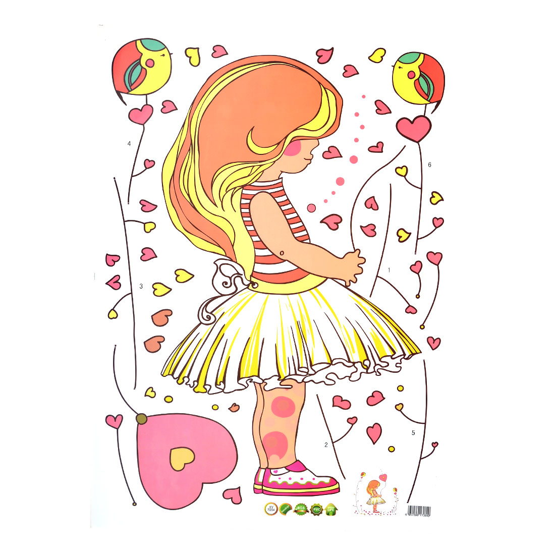 Unique Bargains Bedroom Cartoon Style Girl Pattern Wall Decor Sticker Decal Wallpaper 50 x 70cm