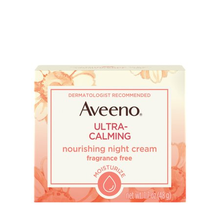 Aveeno Ultra-Calming Nourishing Night Cream for Sensitive Skin, 1.7 (Velvety Soothing Skin Cream)