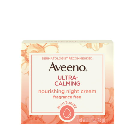 Aveeno Ultra-Calming Nourishing Night Cream for Sensitive Skin, 1.7 (Best Face Cream For Older Skin Uk)