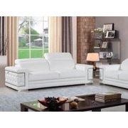 Contemporary White Genuine Italian Leather Sofa Global United 692