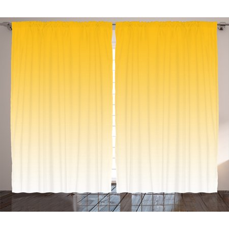 Ombre Curtains 2 Panels Set, Summer Love on the Beach Theme Inspired for Yellow Lovers Modern Ombre Art Design, Window Drapes for Living Room Bedroom, 108W X 84L Inches, Light Yellow, by Ambesonne ()