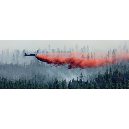 Fire Retardant Canvas (Canvas Print C-130 equipped with a MAFFS system sprays retardant over the Black Crater Fire in Oregon. Stretched Canvas 10 x 14 )