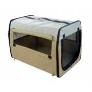 Pet Life H1KHMD Kahki Folding Zippered Easy Pet Crate - MD
