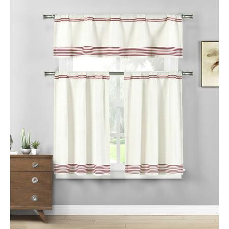 Burgundy 3 Pc. Cotton Rich Kitchen/Cafe Tier Curtain Set: Off-White, Stripe - Burgundy Stripe