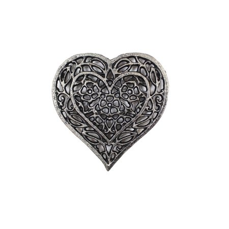 Rustic Silver Cast Iron Heart Shaped Trivet 7""