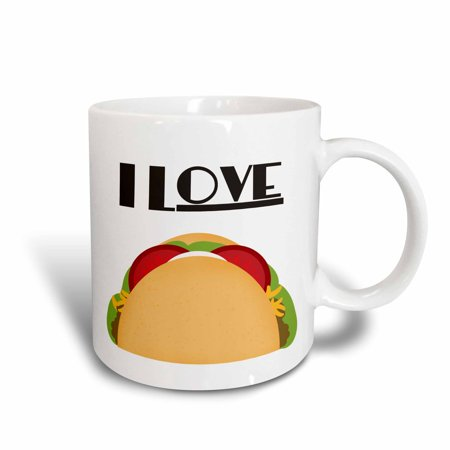 3dRose I Love Tacos Mexican Food art, Ceramic Mug,