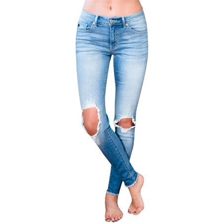 Womens Light Blue Jeans - Holes Knee Women Skinny Light Blue Washed Jeans