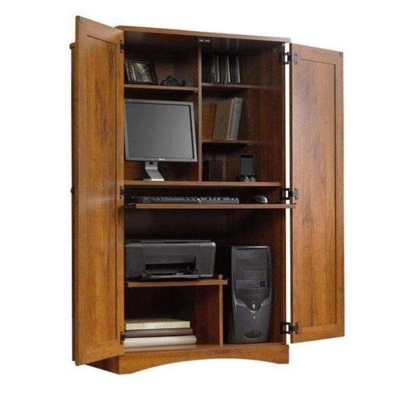 Bowery Hill Computer Armoire in Abbey Oak