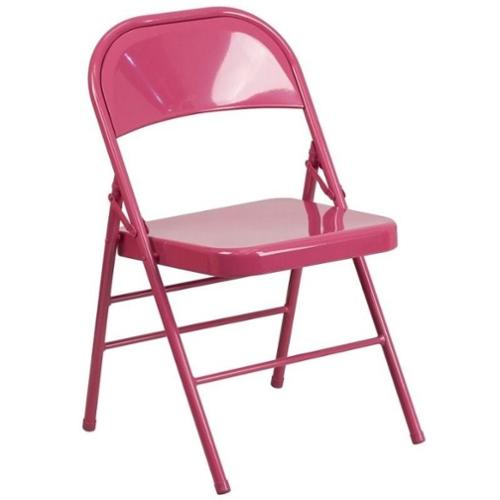 Flash Furniture Hercules Colorburst Metal Folding Chair in Fuchsia