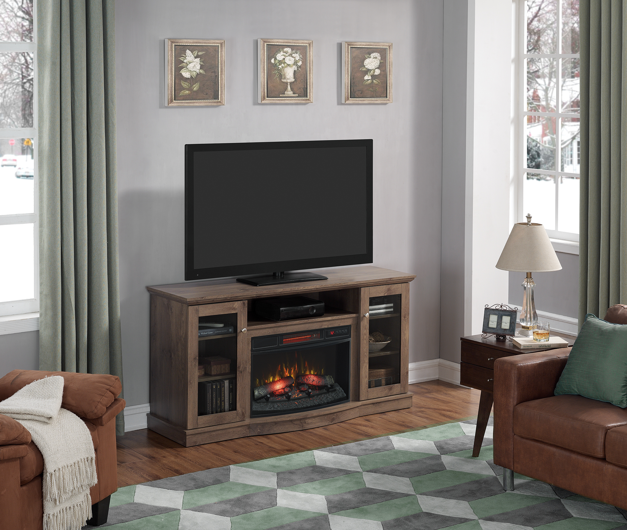 Chimneyfree Media Electric Up Tvs For Fireplace To 65 Multiple