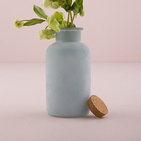 Large Frosted Sea Blue Bottle With Cork Stopper
