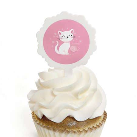 Purr-fect Kitty Cat - Cupcake Picks with Stickers - Kitten Meow Baby Shower or Birthday Party Cupcake Toppers - 12 Count - Halloween Themed Baby Shower Cupcakes