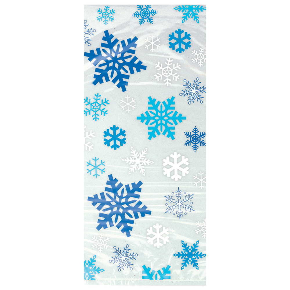 Blue Snowflakes Holiday Cellophane Bags, 11 x 5 in, 20ct