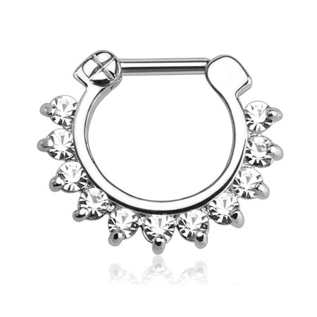 16g 8mm Surgical Steel Septum and Cartilage/Daith CZ Lined Hoop Clicker Ring ()