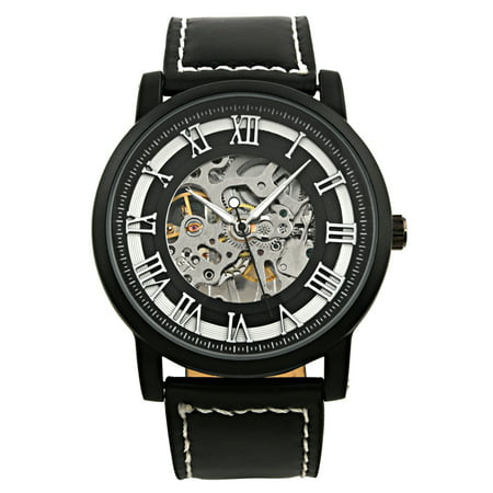 Men's Black Hand-Wind Up Mechanical Watch Skeleton Roman Numerals Leather Band Black Roman Numeral Pocket Watch