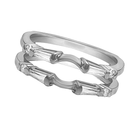 Round & Baguette Cubic Zirconia Simple Classic Guard Enhancer Ring in 14k White Gold Over Sterling Silver (0.46 Cttw) 14k White Gold Ring Guard