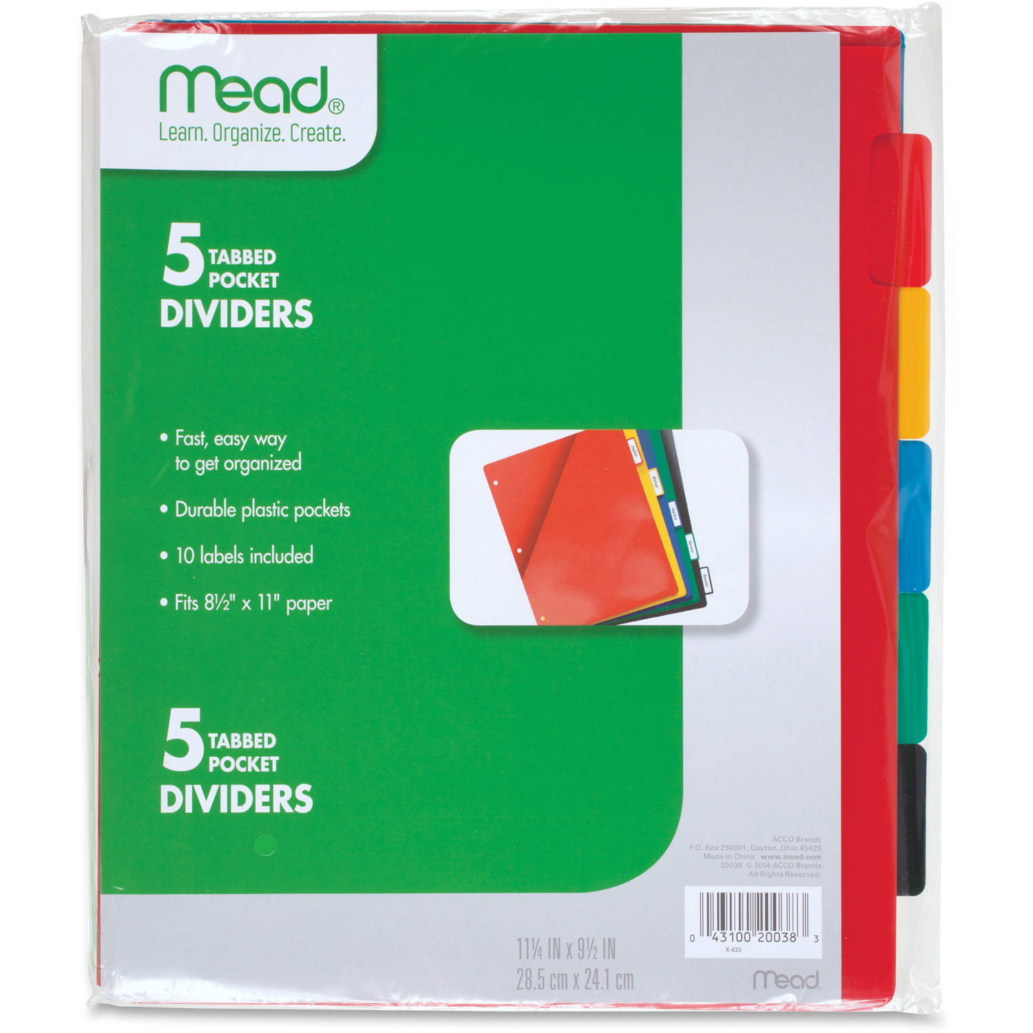 Five Star 5 Tabbed Pocket Dividers, Pack of 5, Assorted