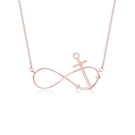 Lesa Michele Infinity Symbol And Anchor Necklace In Rose Gold Over