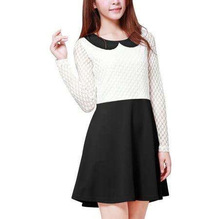 Women's Mesh Panel Semi Sheer Mini Dress Black (Size XL / 16) - Mesh Mini Dress Set