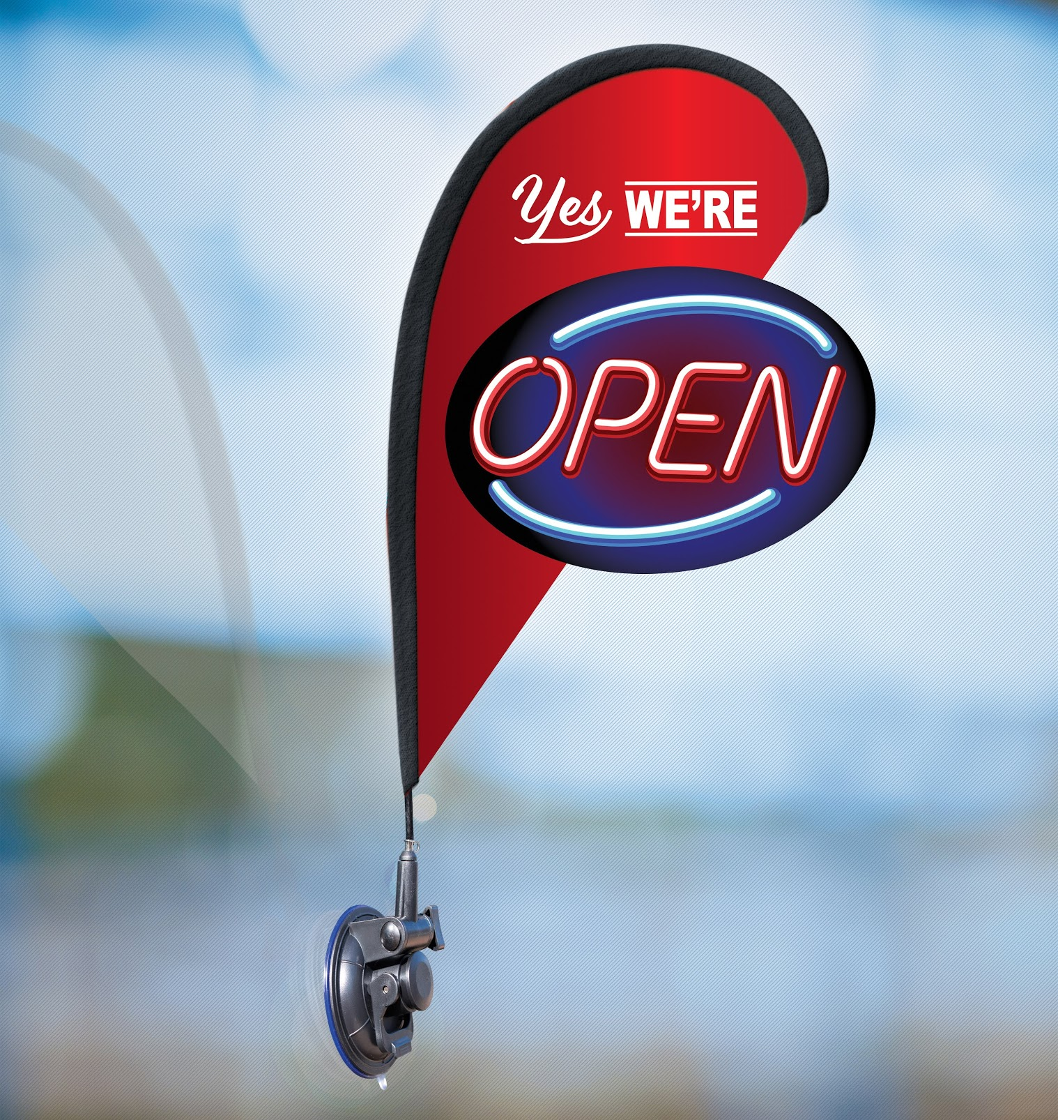 Indoor Outdoor Double Sided Window Flag for Business Sign Drive Thru Serving Essential Business and We are Open Small 3D Flag Kit for Small Business Pick Up Delivery