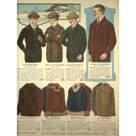 Eatons Fall Catalogue 1920-21 Mens cardigans 2 Stretched Canvas - Unknown (18 x 24) - Clothes Catalogues