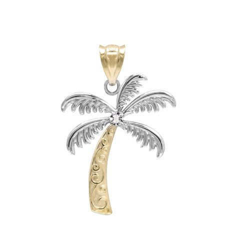 14K Yellow Gold with Diamond Palm Tree Necklace Pendant 14k Yellow Gold Palm Tree