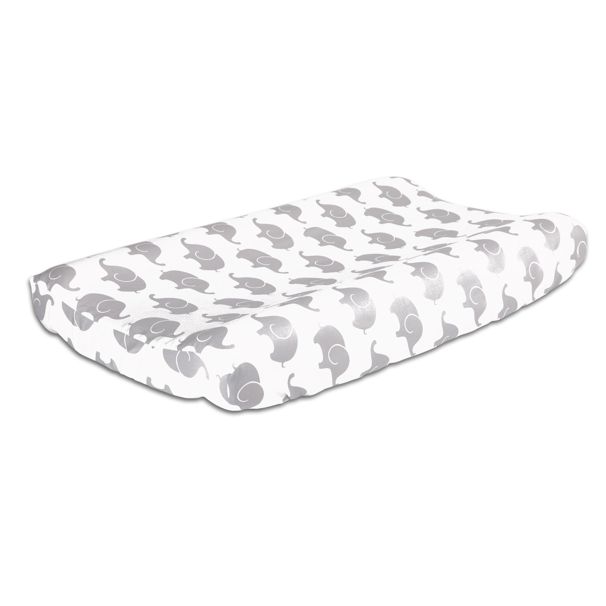 The Peanut Shell Baby Contoured Changing Pad Cover Grey Elephant Print 100% Cotton Sateen Fabrics, Fits 32 by... by The Peanut Shell