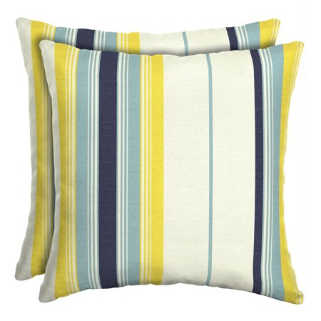 Mainstays Yellow Bell Gardens Stripe 16 In Square Outdoor