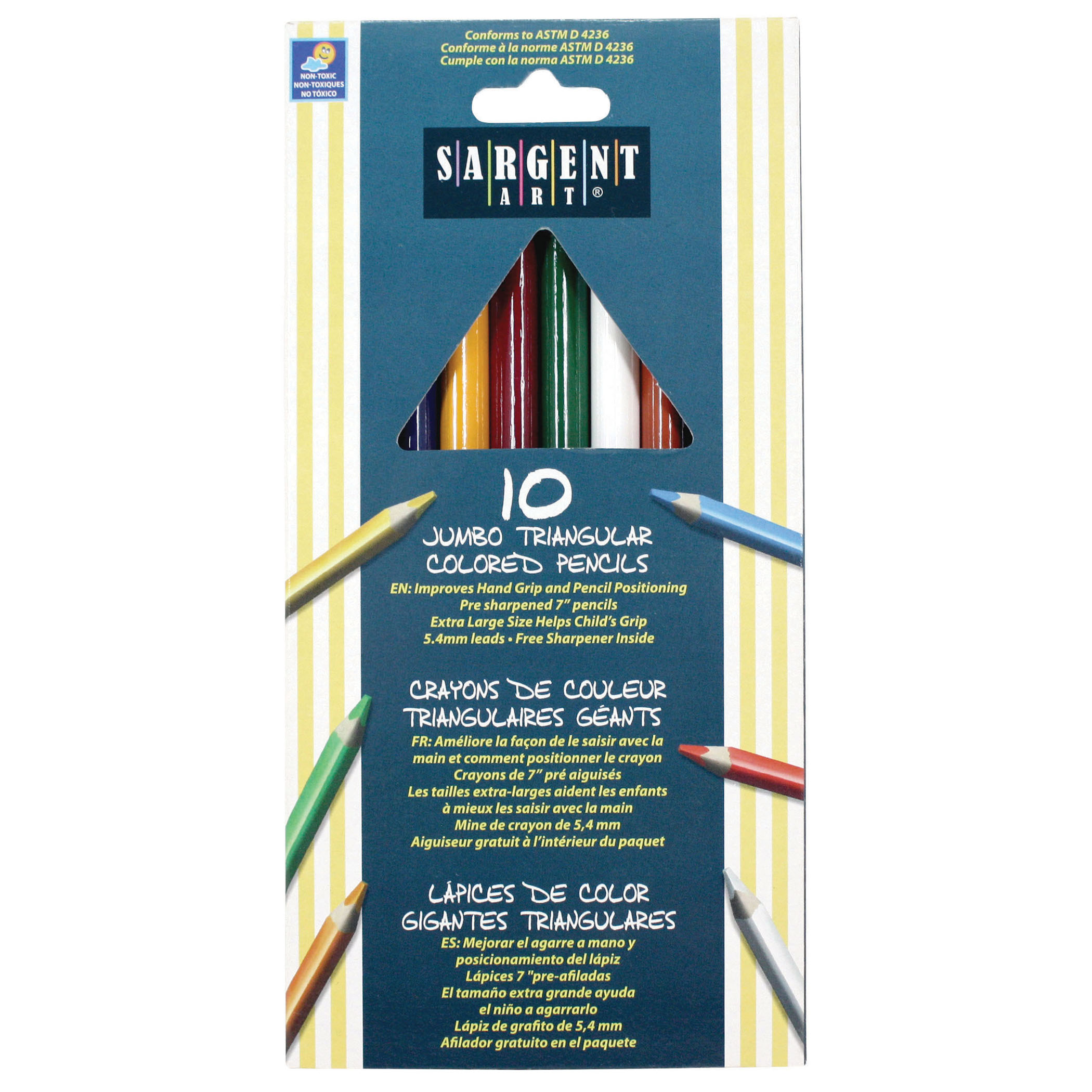 Sargent Art® 6mm Easy Grip Triangle Colored Pencils, 10 per pack, 6 packs