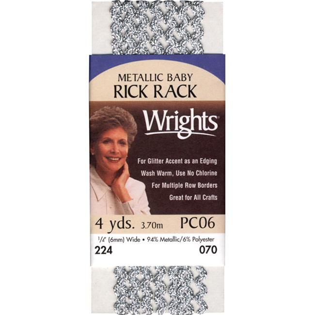 Wrights 117-224-070 Baby Metallic Rick Rack 1-4 in. 4 Yards-Silver - image 1 of 1