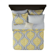 Mainstays Yellow Damask 6-Piece Bed in a Bag Bedding Set, Twin/Twin XL