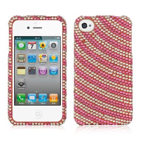 Insten Rainbow Swirl Rhinestone Diamond Bling Hard Snap-in Case Cover For Apple iPhone 4/4S, Hot Pink