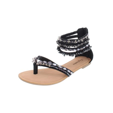 Zigi Soho Womens Talisa Faux Leather Beaded Flats ()