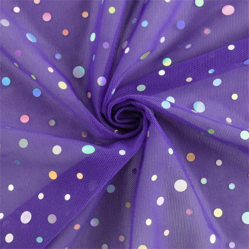 Ultra Violet/Silver Holographic Polka Dot Stretch Mesh, Fabric By the Yard