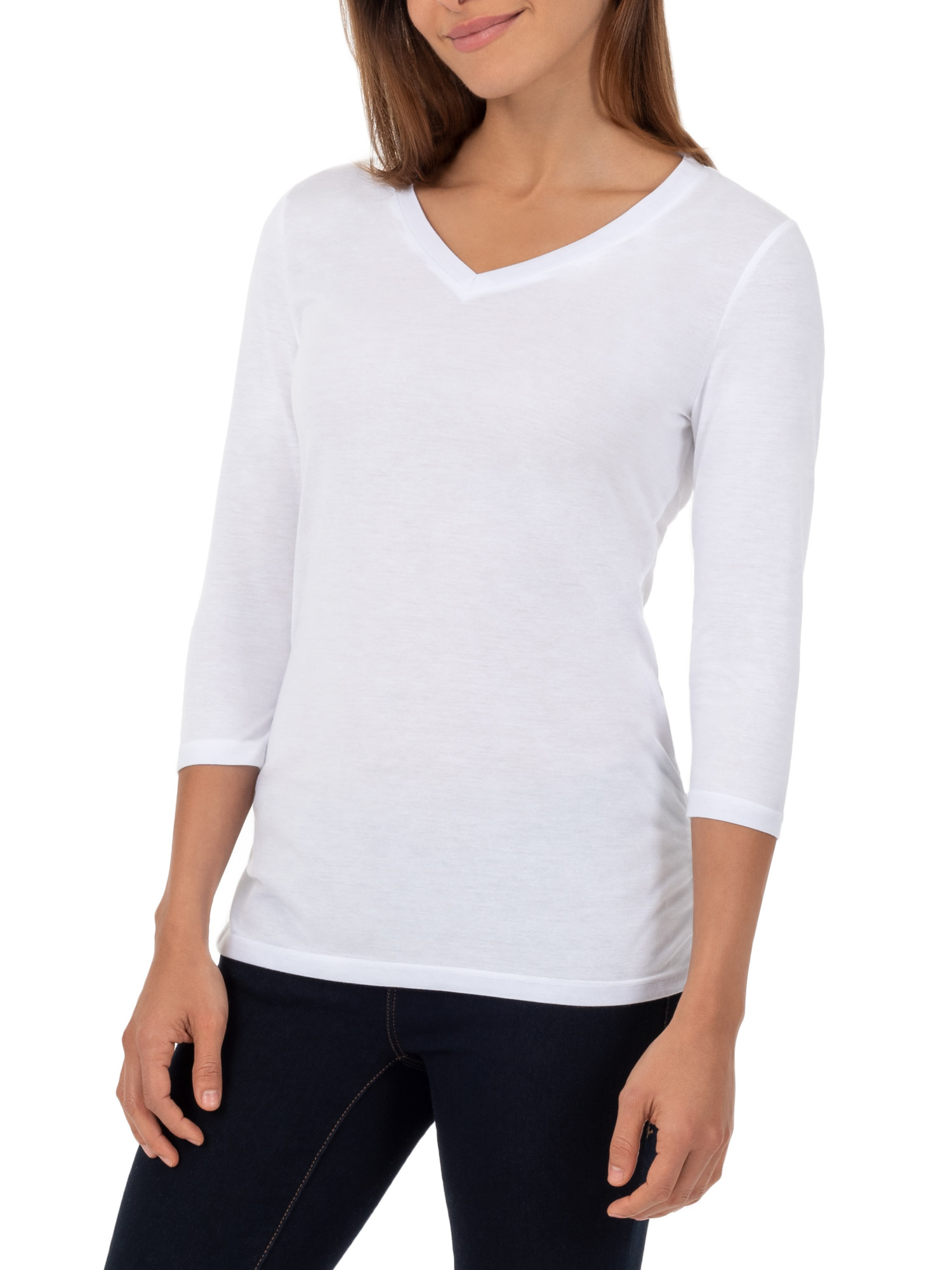 Women's ¾ Length Sleeve V-Neck Ruched Tee Shirt