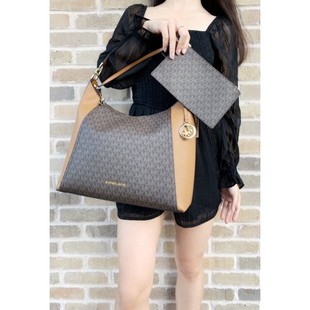 01a8d1409ff2 Michael Kors Kimberly Studded Large Shoulder Tote Brown MK Acorn w Pouch -  Walmart.com