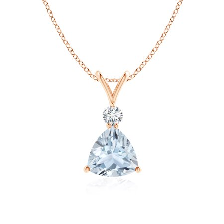 March birthstone pendant necklaces v bale diamond and trillion march birthstone pendant necklaces v bale diamond and trillion aquamarine solitaire pendant in 14k rose aloadofball