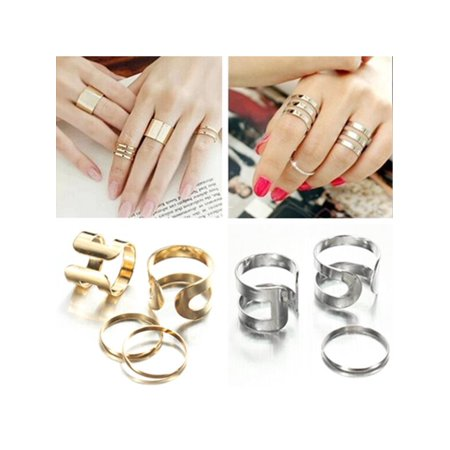 1 Set Punk Fashion Lady Gold Knuckle Mid Finger Tip Stacking Rings Kit - - Five Gold Stacking Rings
