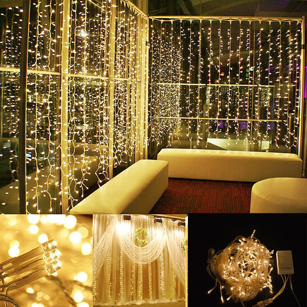 image 164ft2ft led curtain icicle lights string connectable christmas warm white