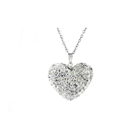 White Swarovski Elements Crystal Buble Heart (Crystal Heart Ring Necklace With Swarovski Elements)