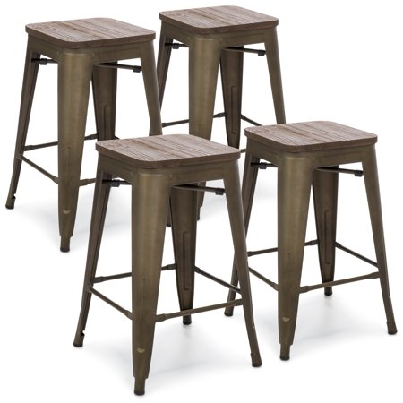 Best Choice Products 24in Set of 4 Stackable Industrial Distressed Metal Counter Height Bar Stools w/ Wood Seat -