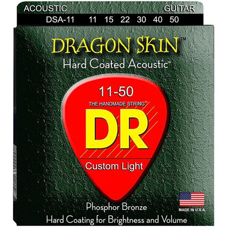 DR Strings DSA-11 Dragon Skin K3 Coated Acoustic Strings Medium-Light Dragon Skin Coated Light